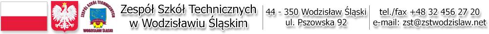 Godło Polski. Logo Zespołu Szkół Technicznych. 44-300 Wodzisław Śląski ul. Pszowska 92. tel 48324562720 e-mail zst at zstwodzislaw.net